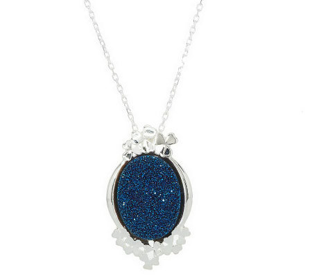 """As Is"" JMH Jewellery Sterling Drusy Quartz Pendant & Chain"