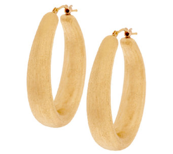 "Oro Nuovo 1-1/2"" Brushed Satin Finish Oval Hoop Earrings, 14K - J289933"