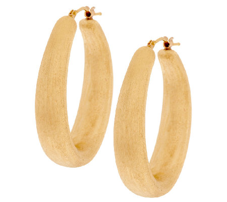 "Oro Nuovo 1-1/2"" Brushed Satin Finish Oval Hoop Earrings, 14K"