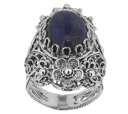 Artisan Crafted Sterling Ornate Design Lapis Flower Ring