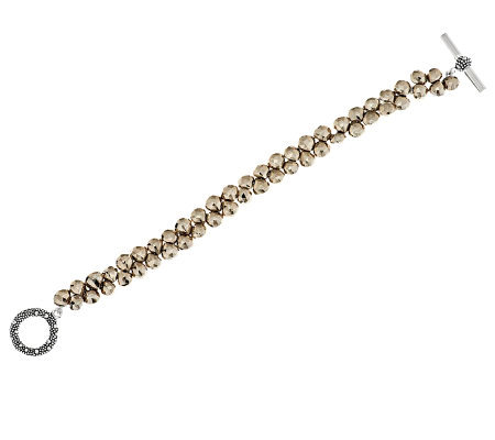 """As Is"" Michael Dawkins Sterling and Faceted Pyrite Line Bracelet"