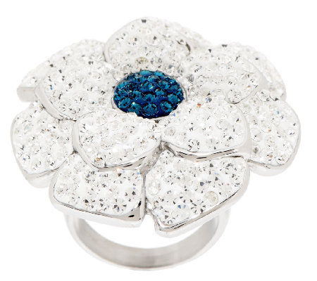 Stainless Steel Bold Crystal Flower Ring