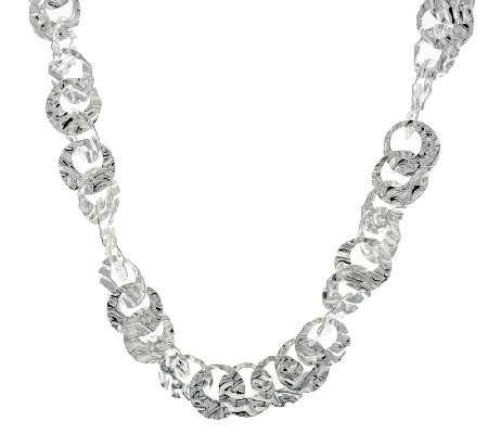"Artisan Crafted Hammered Link 24"" Sterling Necklace, 47.3g"