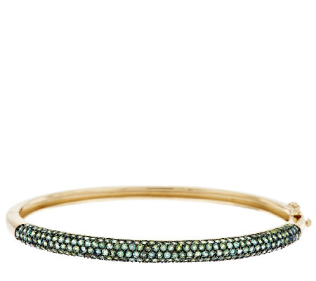 3.50 ct tw Pave Alexandrite Average Bangle, 14K Gold
