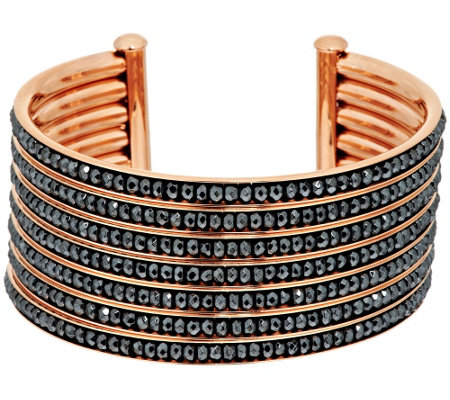 Bronze 7-Row Hematite Bead Inlay Cuff Bracelet by Bronzo Italia