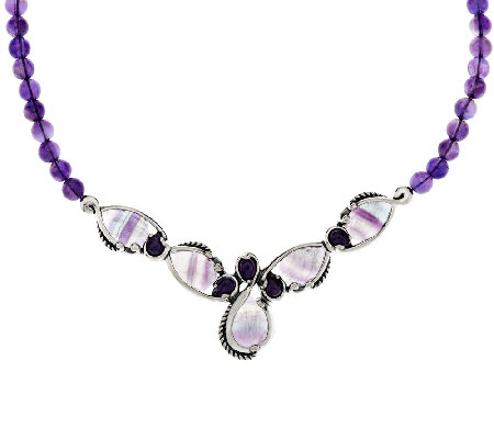 Carolyn Pollack Fluorite & Amethyst Bead Sterling Necklace