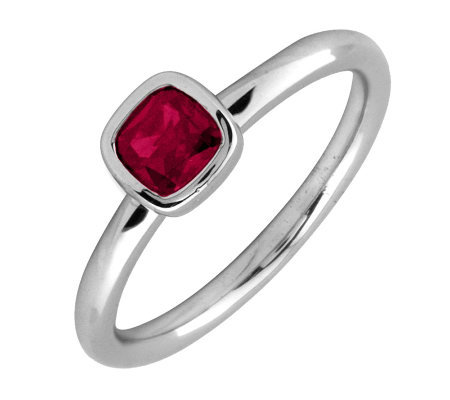 Simply Stacks Sterling & Cushion Cut Created-Ruby Ring