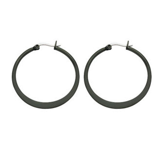 Stainless Steel Black-Plated Hoop Earrings - J302233