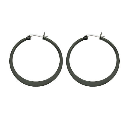 Stainless Steel Black-Plated Hoop Earrings