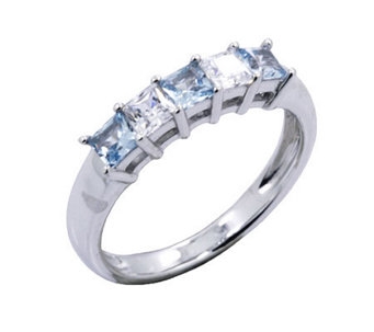Diamonique Princess Cut Ring, Plat inum Clad - J302433