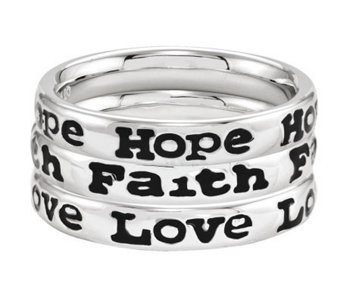 Simply Stacks Sterling Hope, Faith, and Love Ring Set - J306033