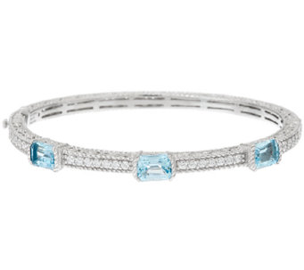 Judith Ripka Sterling 5.10 cttw Blue Topaz Bangle Bracelet - J321933