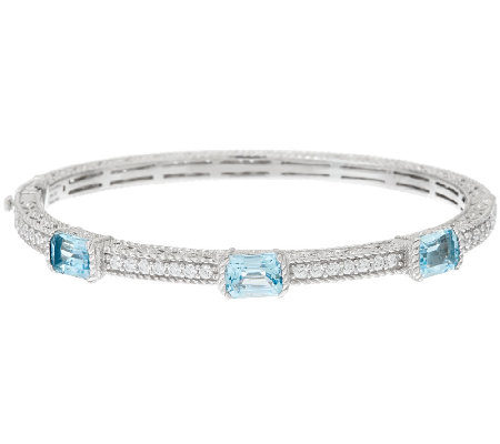 Judith Ripka Sterling 5.10 cttw Blue Topaz Bangle Bracelet