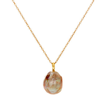 "Honora 14K Gold 12.0mm Ming Cultured Pearl Pendant with 18"" Chain - J322733"