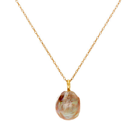 "Honora 14K Gold 12.0mm Ming Cultured Pearl Pendant with 18"" Chain"