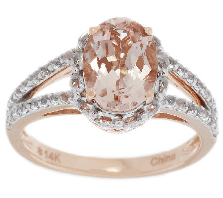 """As Is"" 2.50 cts Oval Morganite & White Topaz Ring, 14K Gold"