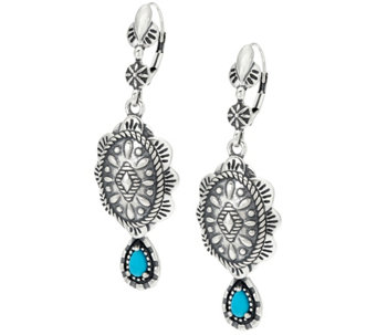 Sterling Silver Concha Design Turquoise Earrings by American West - J324933
