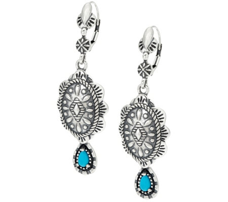 Sterling Silver Concha Design Turquoise Earrings by American West