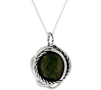 """As Is"" Connemara Marble Twisted Sterling Silver Pendant - J325633"
