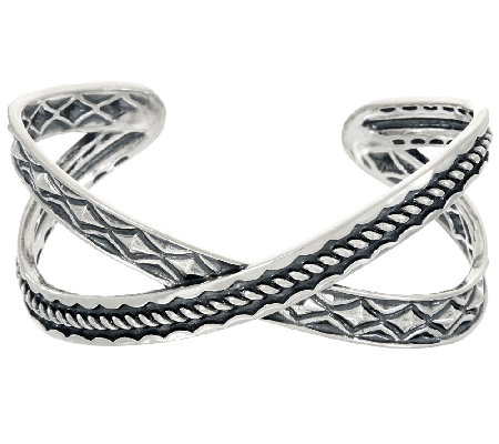 Sterling Silver Textured X-Design Cuff by American West