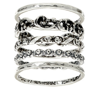 Sterling Silver Set of 5 Stack Rings by Or Paz - J326633