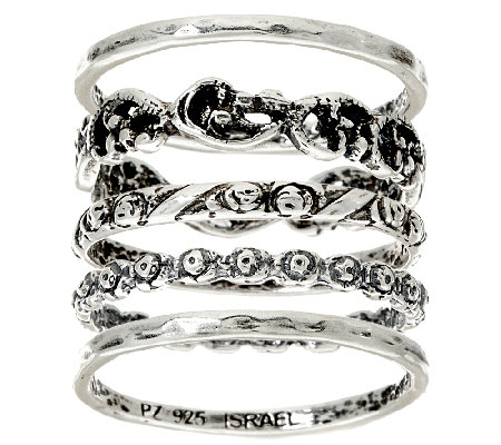 Sterling Silver Set of 5 Stack Rings by Or Paz