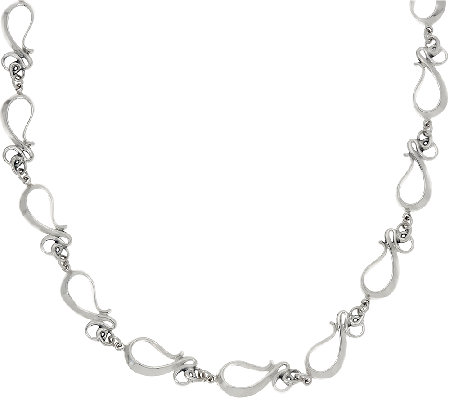 "Hagit Sterling Silver 18"" Ribbon Necklace"