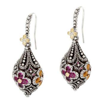 Barbara Bixby Sterling & 18K 3.40 cttw Multi-Gemstone Flower Earrings
