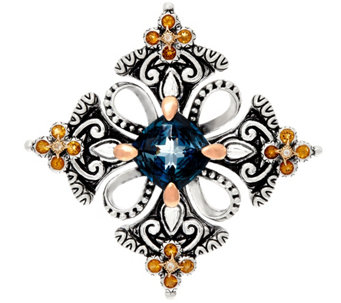 Barbara Bixby Sterling & 18K London Blue Topaz Cross Enhancer - J329133