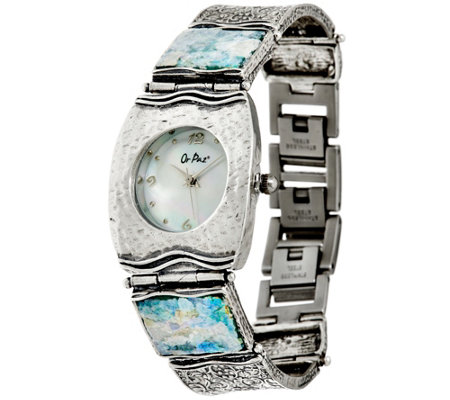Or Paz Sterling Silver Roman Glass Watch