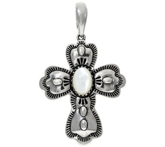 Sterling Silver Mother-of-Pearl Cross Enhancer by American West - J329433