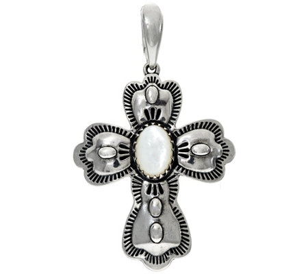 Sterling Silver Mother-of-Pearl Cross Enhancer by American West