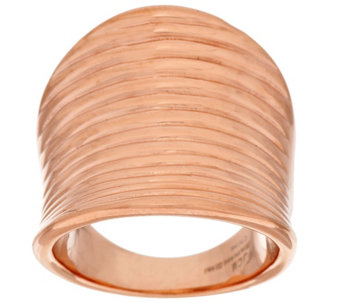 """As Is"" Stainless Steel Ribbed Saddle Design Ring - J329733"