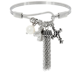 Stainless Steel Crosses and Tassel Charm Bangle - J331233