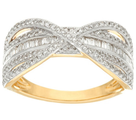 """As Is"" Baguette Band Diamond X-Ring, 14K Gold, 1/2 cttw"