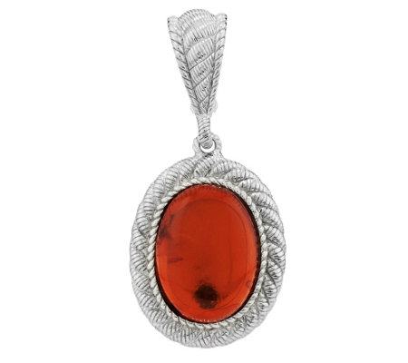 """As Is"" Judith Ripka Sterling Oval Amber Cabochon Pendant"