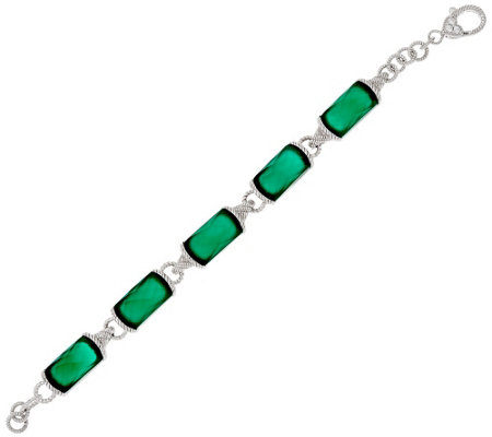 """As Is"" Judith Ripka Sterling Small Faceted Cabochon Link Bracelet"