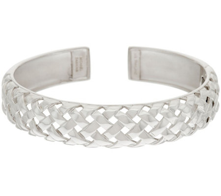 """As Is"" Michael Dawkins Sterl. Basket Weave Texture Hinged Cuff Bracelet"