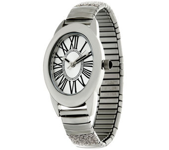 """As Is"" Stainless Steel Stretch Glitter Watch - J333133"