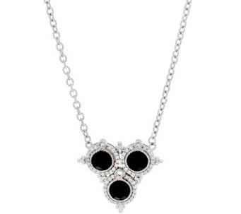 "Judith Ripka 20"" Sterling Faceted Black Spinel Necklace - J333333"