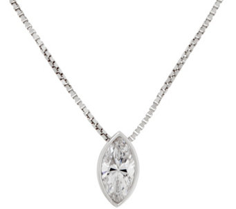 Diamonique Marquise Pendant w/ Adjustable Chain, Sterling - J333433