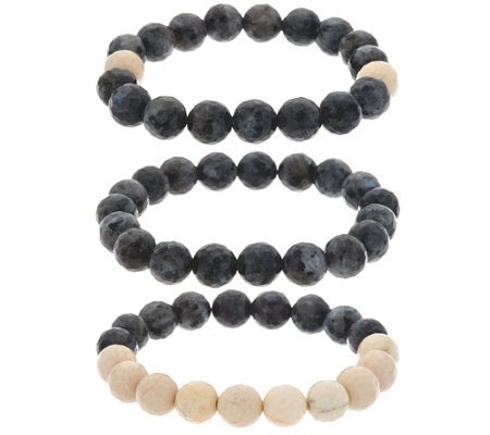 Ellie Madison Set of Three Labradorite & Calcite Stretch Bracelets