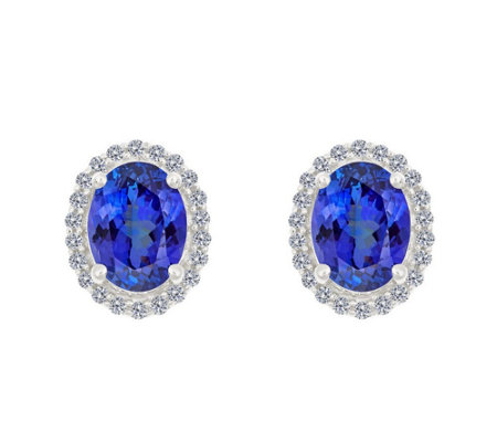 Premier 2ct Tanzanite & 1/5cttw Diamond Halo Earrings, 14K