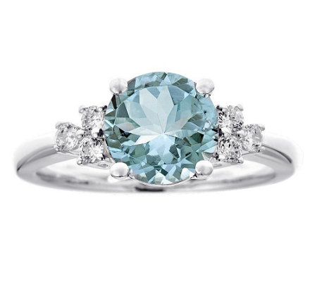 Premier 1.90cttw Aquamarine & 1/5cttw Diamond Ring, 14K