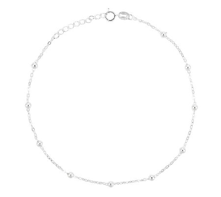 "Sterling 10"" Polished Petite Round Bead StationAnkle Bracelet"