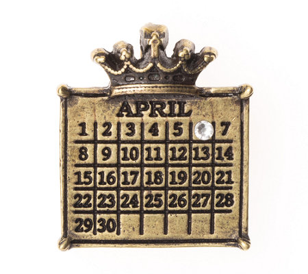 Personalized Brasstone Calendar Crown Pendant