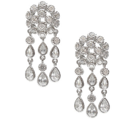 Judith Ripka Sterling 6.20cttw Diamonique Chand elier Earrings