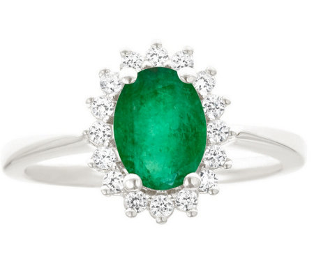 Premier 9/10cttw Oval Emerald & Diamond Ring, 14K