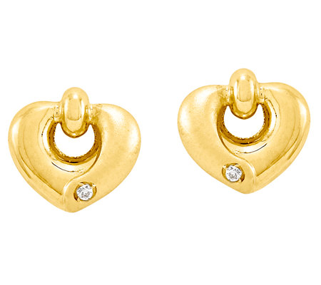 Polished & Satin Bead & Heart with Crystal Earrings, 14K