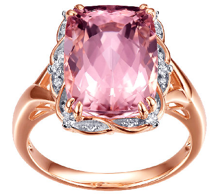 5.00cttw Morganite & Diamond Ring, Sterling/14KRose Clad